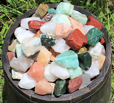 2 lb Bulk Lot Natural Rough INDIA Mix (Raw Cabbing Tumbling Rocks 4500 Carats+)