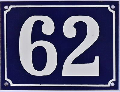 Large old blue French house number 62 door gate plate plaque enamel metal sign