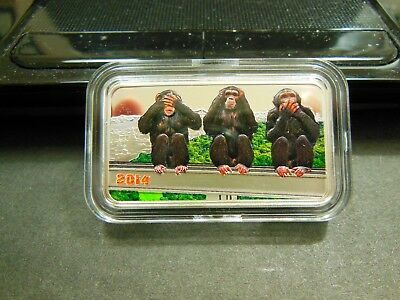 2014 THREE 3 WISE MONKEYS 1oz. .999 Silver Proof Coin 1000 Shilling Tanzania