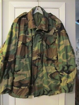 VTG US ARMY M-65 M65 FIELD JACKET CAMOUFLAGE WOODLAND 1990's LARGE CAMO EX COND