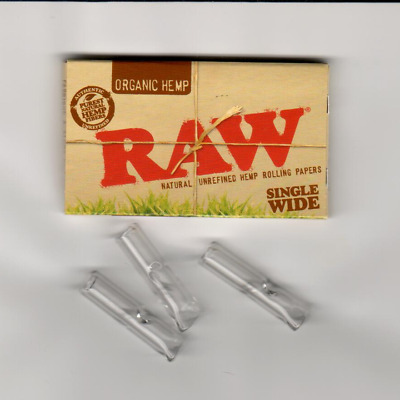 One Pack of RAW Organic Hemp Single Wide Rolling Papers PLUS THREE GLASS TIPS