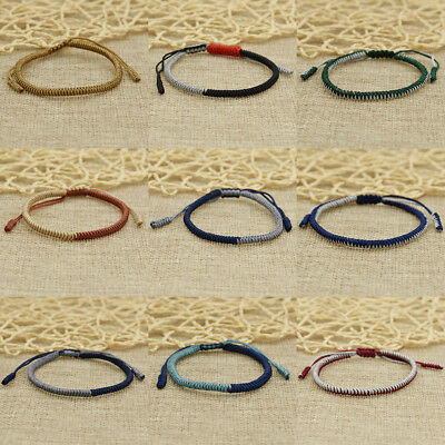 Tibetan Buddhist Knot Lucky Bracelet Rope Charms Women Men Jewelry Accessory
