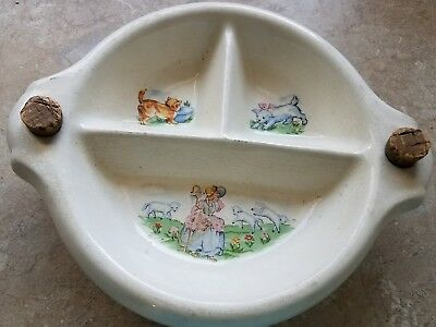Vintage Childs Baby Collectable Divided Warming Dish Bowl - Original corks