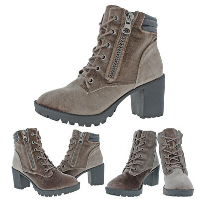30fb455f4ad MADDEN GIRL BY Steve Madden Combat Women's Velvet Lace-Up Ankle Boot Shoes
