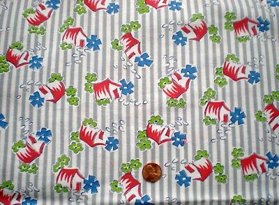 NOVELTY COTTAGES Vtg FEEDSACK Quilt Sewing Dol lClothes Craft Cotton Fabric