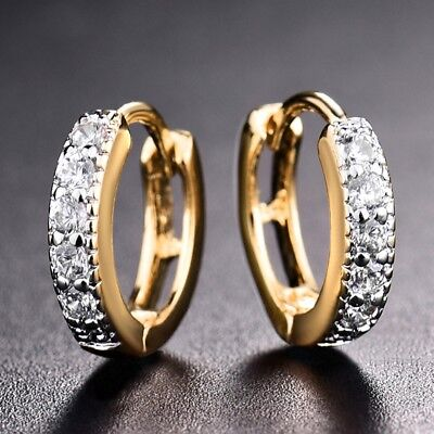 Women Sapphire Crystal Unique Chic Engagement Gold Platinum Filled Hoop Earrings