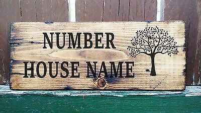 Personalised Wooden House Name Plaque Sign Wood Porch Conservatory Large 44cm