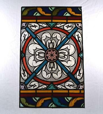 *Large Antique French Stained Glass Hand Painted Panel with Medallion