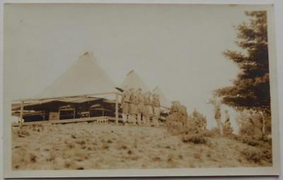 Antique Postcard Circa 1940's Boy Scouts Formation Camping Tents AZO