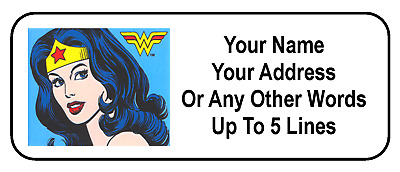 30 Wonder Woman Personalized Address Labels