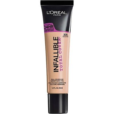 LOREAL Infallible Total Cover 24HR Foundation NATURAL BEIGE 305 NEW
