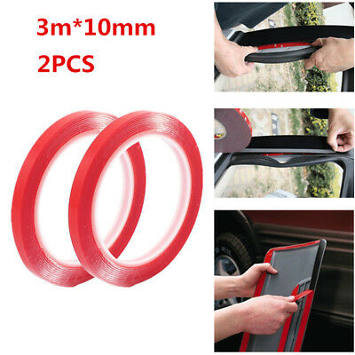 2Pcs Auto Truck Car Acrylic Foam Double Sided Attachment Tape Adhesive 3m x 10mm