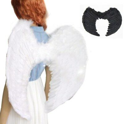 UK Fairy Black White Feathers Angel Wings Large Adult Costume Party Fancy Dress