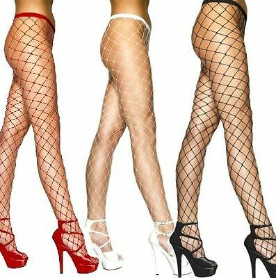 Women's Ladies Diamond Fishnet Tights Large Net Colours White ,Black, Red