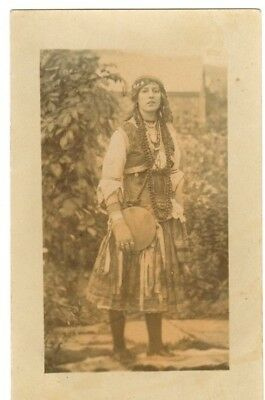 Postcard Of Young Woman In National Costume  - Sepia Photo