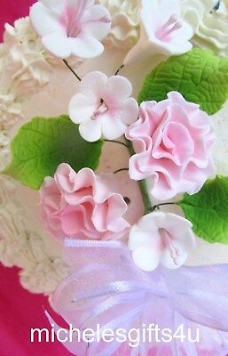 Gum Paste Sugar Pastel Pink Carnations Stephanotis Leaves & Ribbon Cake Flowers