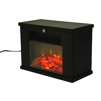Electric Fireplace 1.2KW Fire Wood Flame Heater Stove Glass
