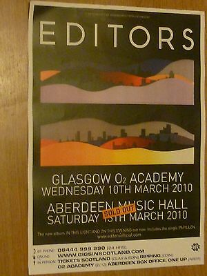 Editors - Glasgow/Aberdeen march 2010 live music show tour concert gig poster