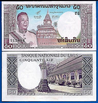 Laos P-12 50 Kip Year ND 1963 Uncirculated Banknote Asia