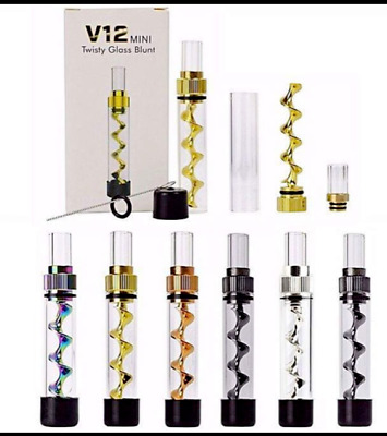 V12 Mini Twisty Glass Blunt with Cleaning Brush Kit in retail box SHIPS FROM USA