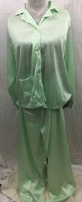 Vintage SEARS Nylon Womens Large 38/40 2-pc Pajamas PJs Button Top & Pants Green