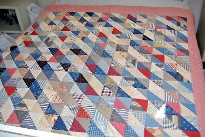 Antique 19th century Hand Stitched Patch Block Quilt