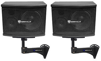 "2) Rockville KPS65 6.5"" 2-Way 400w Karaoke/Pro Speakers+Adjustable Wall Brackets"