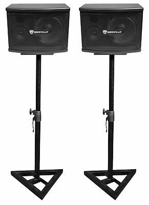 "(2) Rockville KPS65 6.5"" 2-Way 400 Watt Karaoke/Pro Speakers+Adjustable Stands"