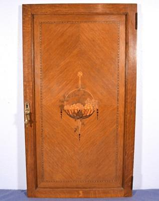 Antique Art Deco Inlaid Marquetry Solid Oak Panel/Door