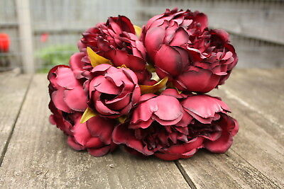5 x DEEP BURGUNDY RED SILK PEONY FLOWERS & BUDS TIED BUNCH / SMALL BOUQUET
