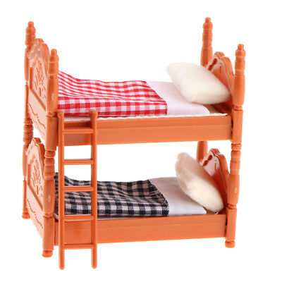 1:12 Scale Dollhouse Miniature Plastic Plaid Bunk Bed Furniture for Bedroom
