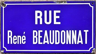 Old French enamel street sign road plaque plate René Beaudonnat, Gerzat Auvergne
