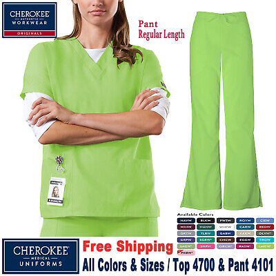 Cherokee Scrubs Set ORIGINALS Uniform V-Neck Top & Natural Pant(4700/4101)_R