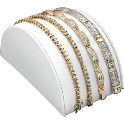 """White Faux Leather Bracelet Half Moon Jewelry Display Ramp Stand 5"""" x 2 1/2"""""""
