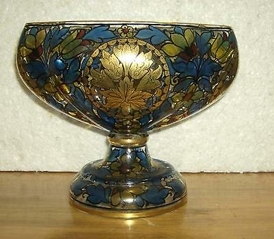 Hand painted oval glass antique footed vase . Gilded accents . Stunning