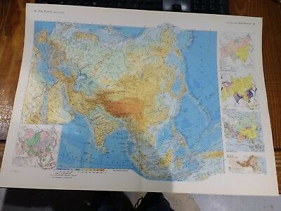 1968 Map Physical Map Of Asia - Detailed Map By Istituto Geografico De Agos