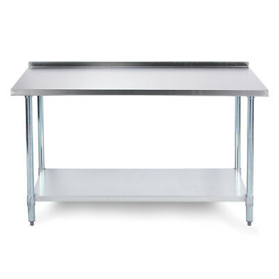 "Stainless Steel Kitchen Utility Prep Table w/ Undershelf & Backsplash 48"" X 24"""