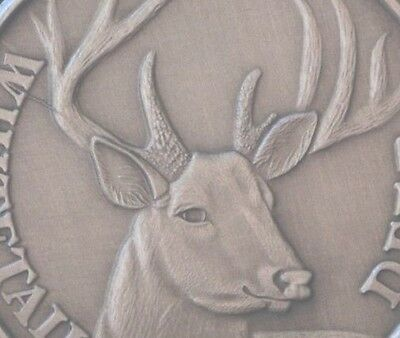 Deer coin Whitetail Buck Antiqued Nickel Hunting Gift has die crack