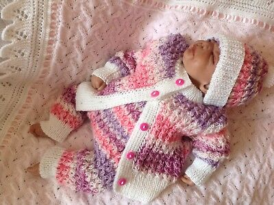 """One Off"" Shades Of Pink 3 Pce Handknitted Set. 0-3 Month Baby or Reborn Doll."
