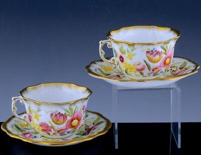 Pair Antique Hammersley Bone China Queen Anne Gold Gilt Chintz Cups Saucers #3