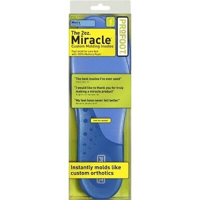PROFOOT Miracle Custom Molding Insoles, Men Size 8-13, 1 Pair Pack of 3, Cushion