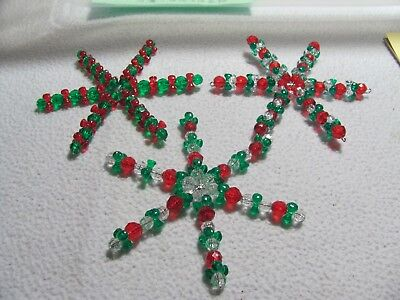 "New Christmas 3 Green,Red & White 4"" Star/Snowflake Ornaments w/ hooks"