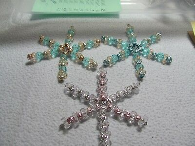 "New Christmas  3 Assorted Color  3"" Star/Snowflake Ornaments w/ hooks"