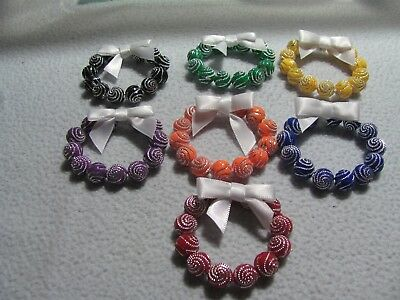"""New 7 Christmas Multi Color Beaded 2""""  Wreath Ornaments  or Package decorations."""