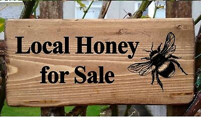 Personalised Honey For Sale sign Bee Keeping local Honey Bee's Wood Large 43cm