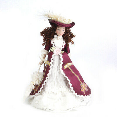 1/12 Dollhouse Porcelain Doll Victorian Lady in Gown Figures Model Display
