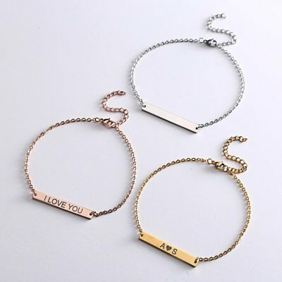 US Personalized Engraved Custom Your Name Bar Stainless Steel Bracelet Chain