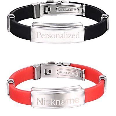 Men Personalized Engraved Custom Name Cool Punk Leather Stainless Steel Bracelet