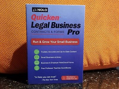 Nolo Quicken Legal Business Pro 2018 Contracts & Forms New Version