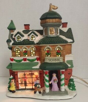 Vintage Christmas Village House School 2 Glass Windows Enchanted Forest House
